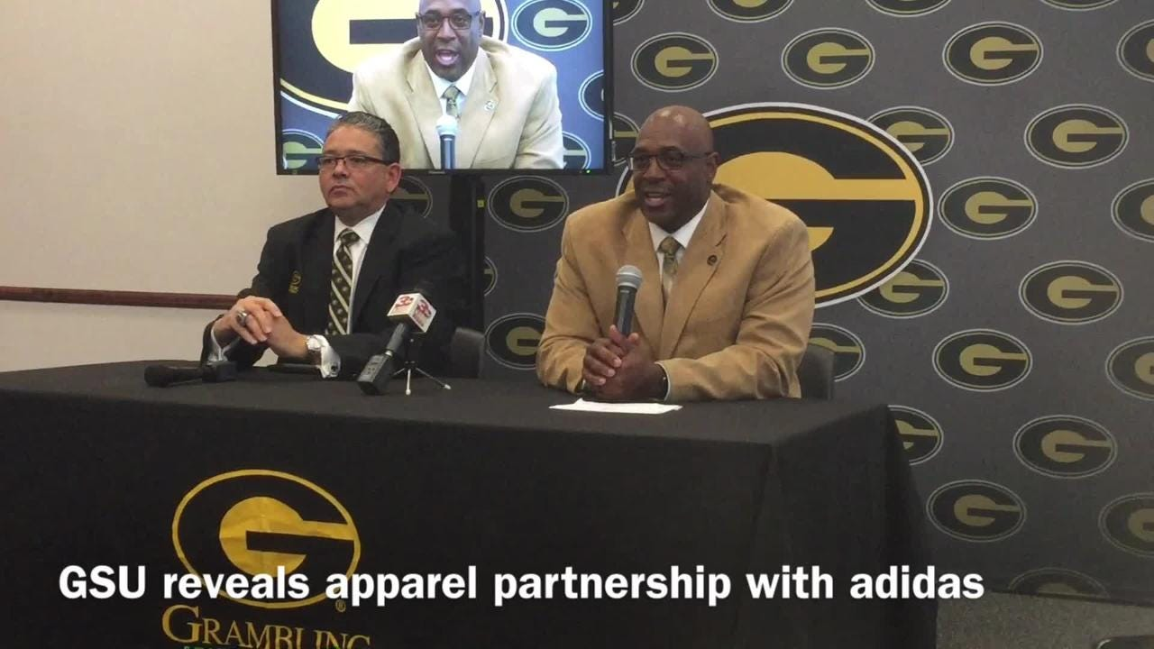 Grambling State University President Rick Gallot and Athletic Director unveil the school's new multi-year apparel deal with adidas.