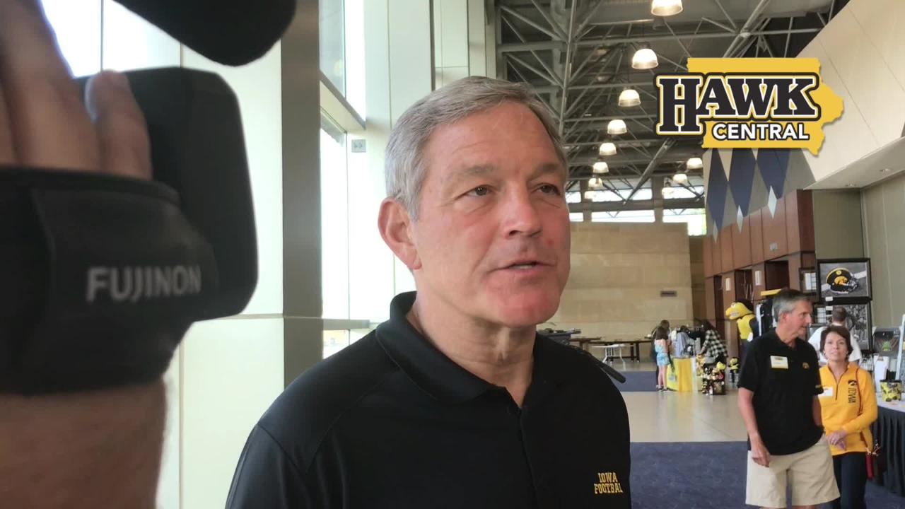 Iowa football coach Kirk Ferentz explains why he's 'keeping an ear to the ground' for a graduate transfer at running back