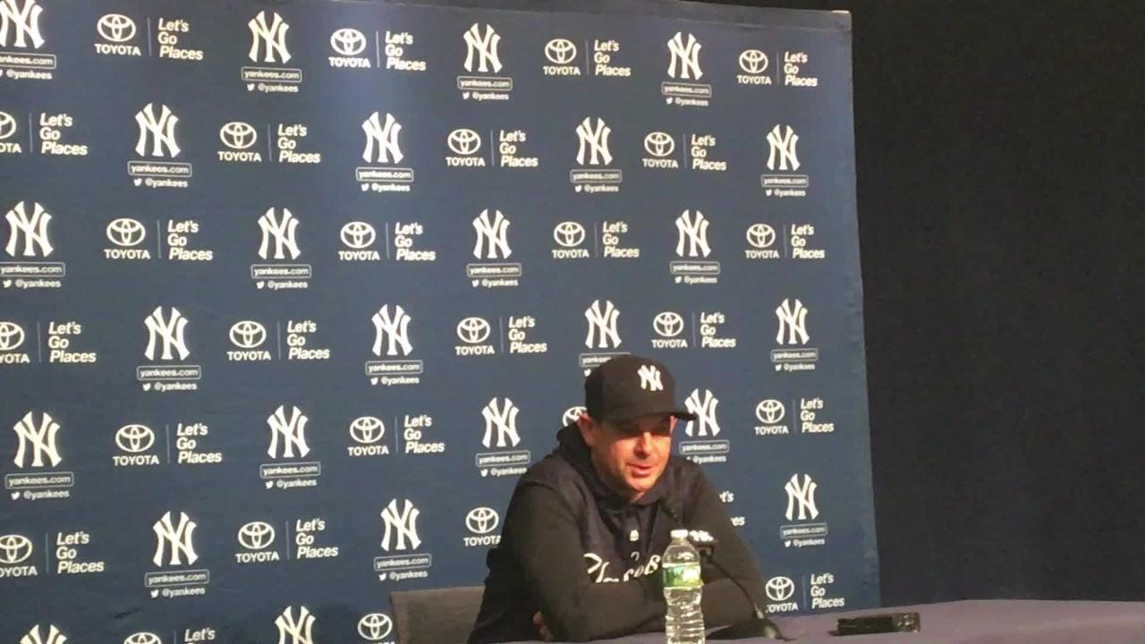 Aaron Boone speaks to the media after the Yankees loss.