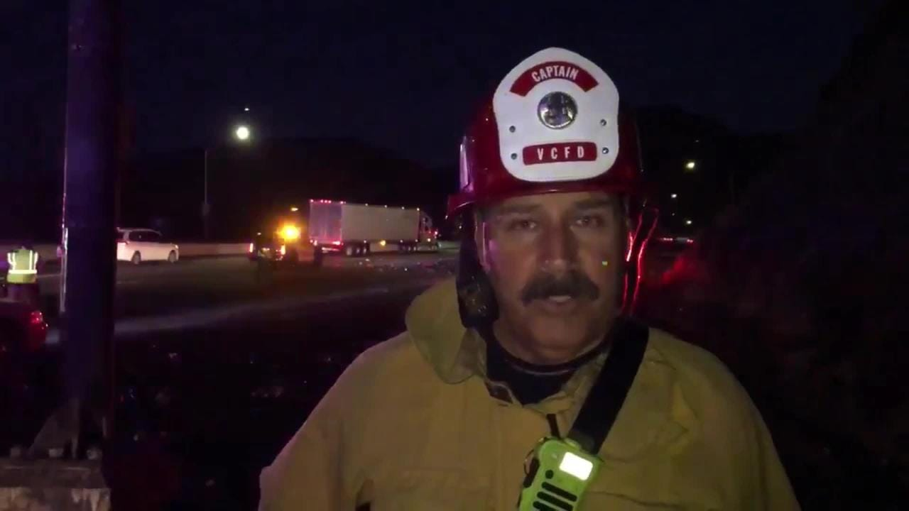 Capt. Stan Ziegler of the Ventura County Fire Department explains the incident that injured a California Highway Patrol officer and shut down much of Highway 101 on the Conejo Grade for hours.