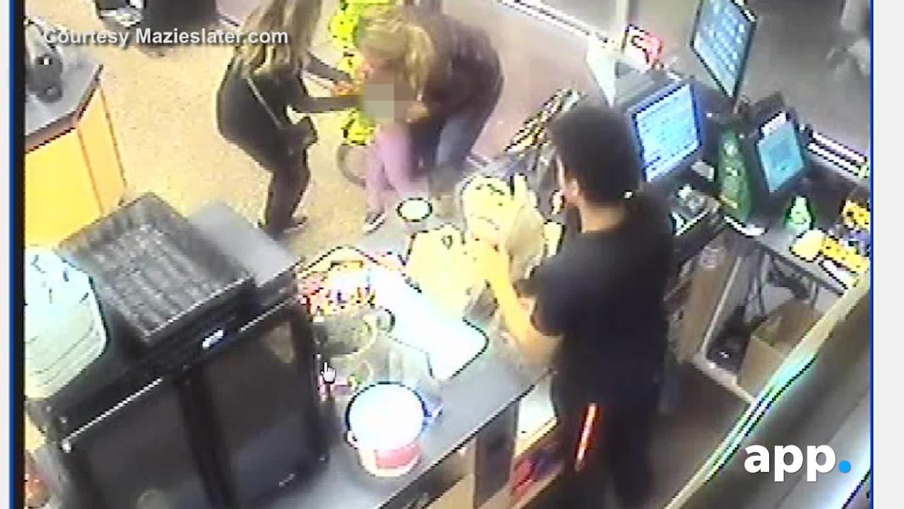 Surveillance video shows hot tea spilling onto a girl at a Wawa in Neptune. Video courtesy of Mazieslater.com
