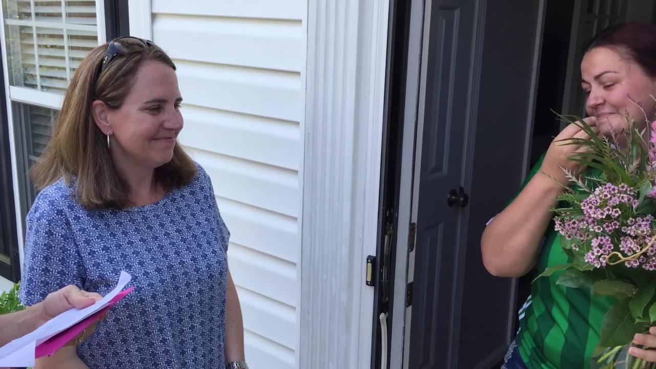 Jonda Moo was named the Greenville News Mother of the Year with a surprise visit to her home