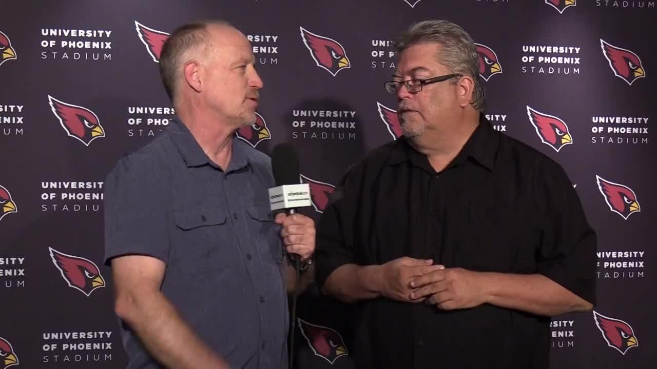 azcentral sports' Kent Somers and Bob McManaman discuss quarterback Josh Rosen during the Cardinals rookie minicamp practice on May 11, 2018.