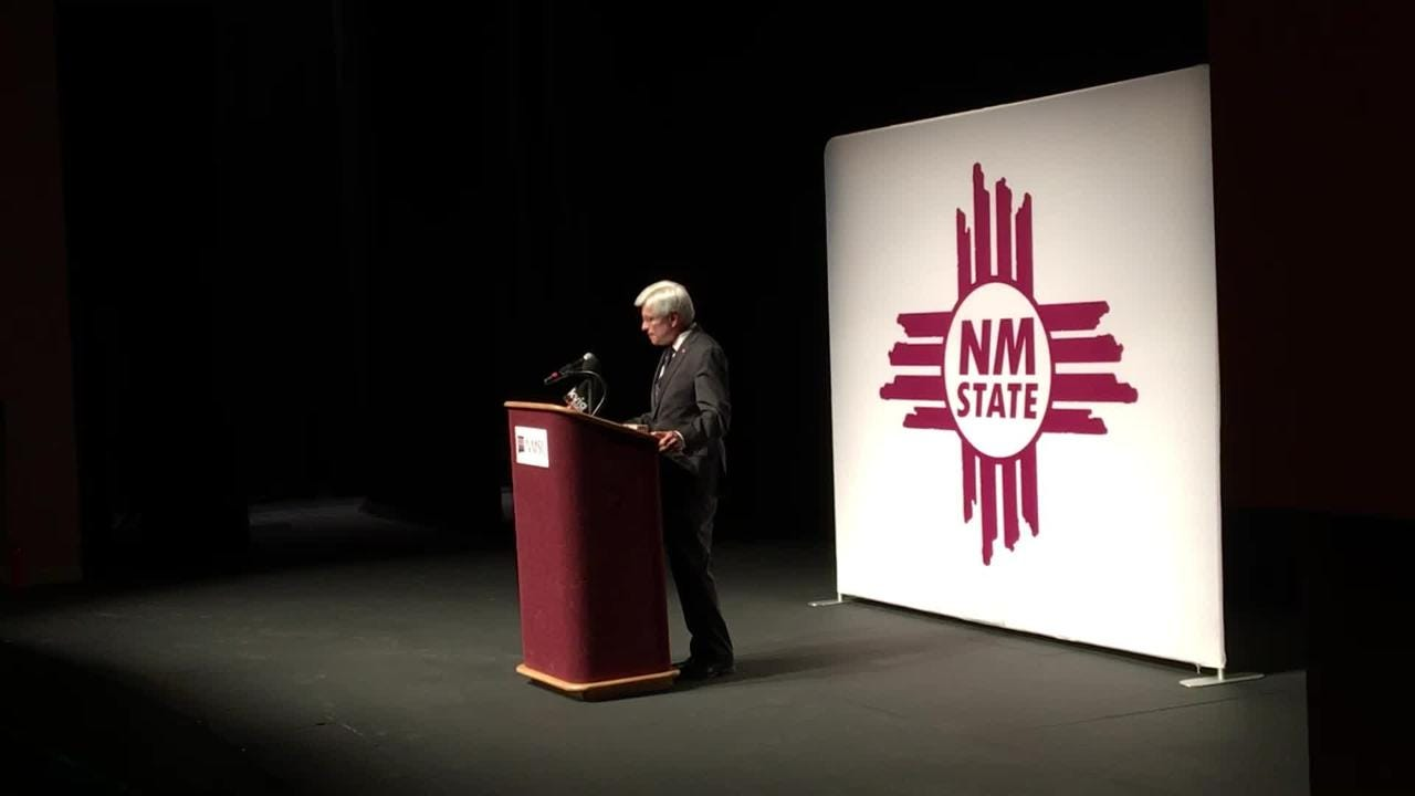 New NMSU Chancellor Dan Arvizu giving remarks at his introduction.