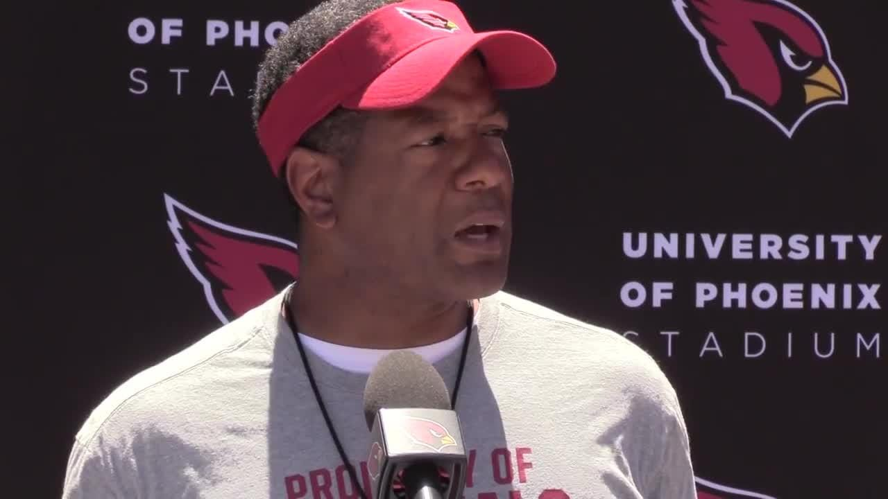 Steve Wilks discusses the first day of Cardinals rookie mini-camp practice on May 11, 2018 at the Arizona Cardinals Training Facility in Tempe, Ariz.