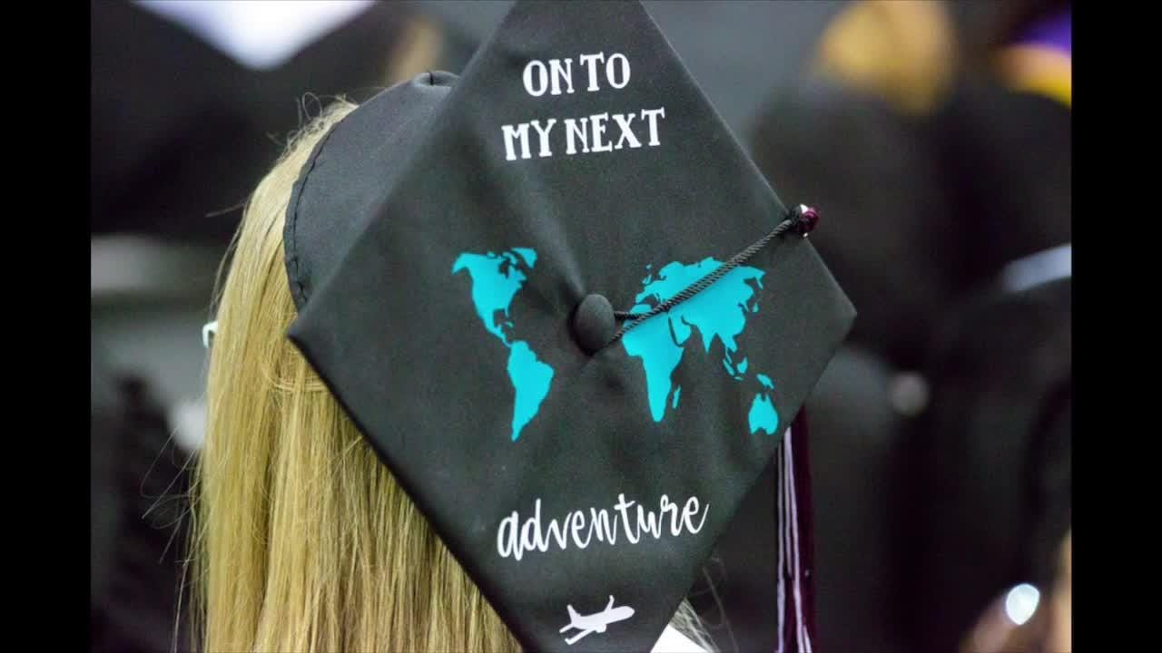 Mortarboards at New Mexico State University commencement ceremony.