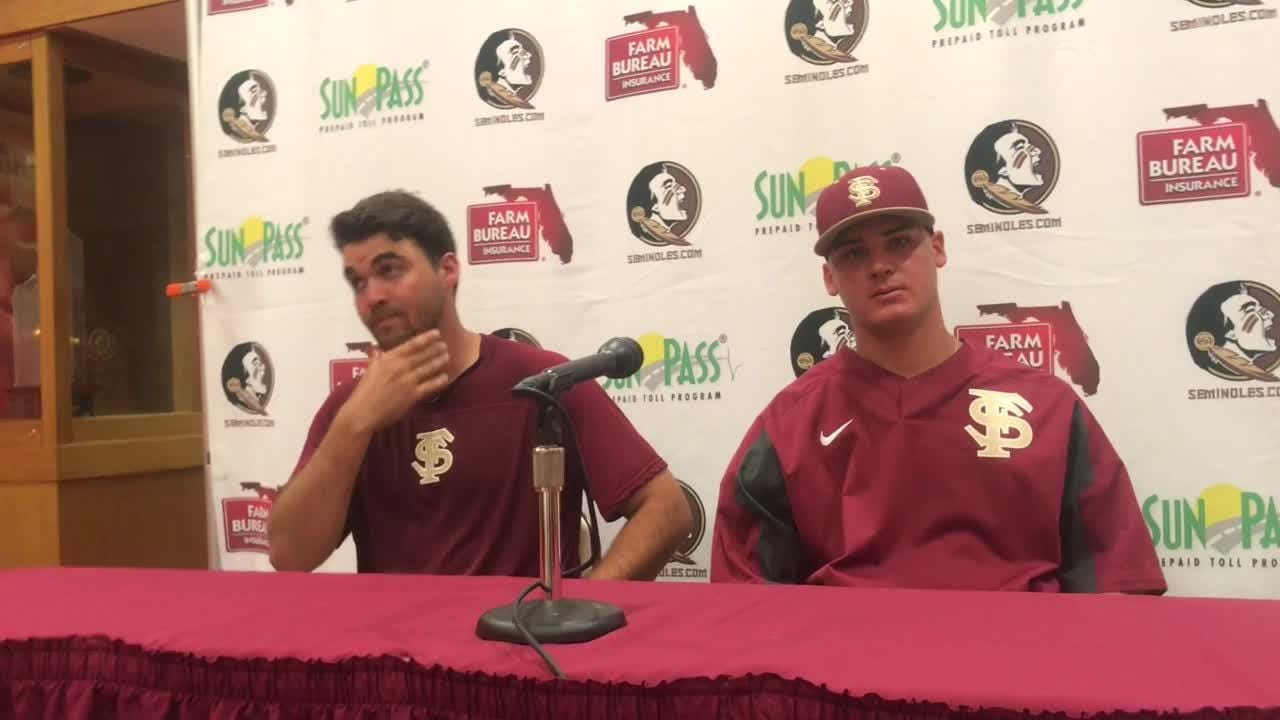 FSU players Kyle Cavanaugh and Cole Sands talks to the media after the Seminoles 22-0 win.