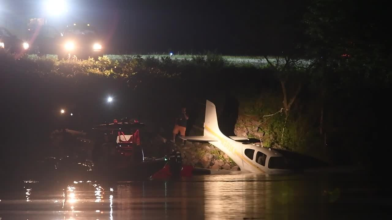 Raw video: KFD on site where small plane slid off runway at Island Home airport