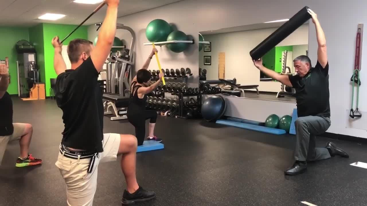 Gene Giamarino, who's been a physical therapist for 41 years, leads a weekly golf fitness class at Naples Personal Training.