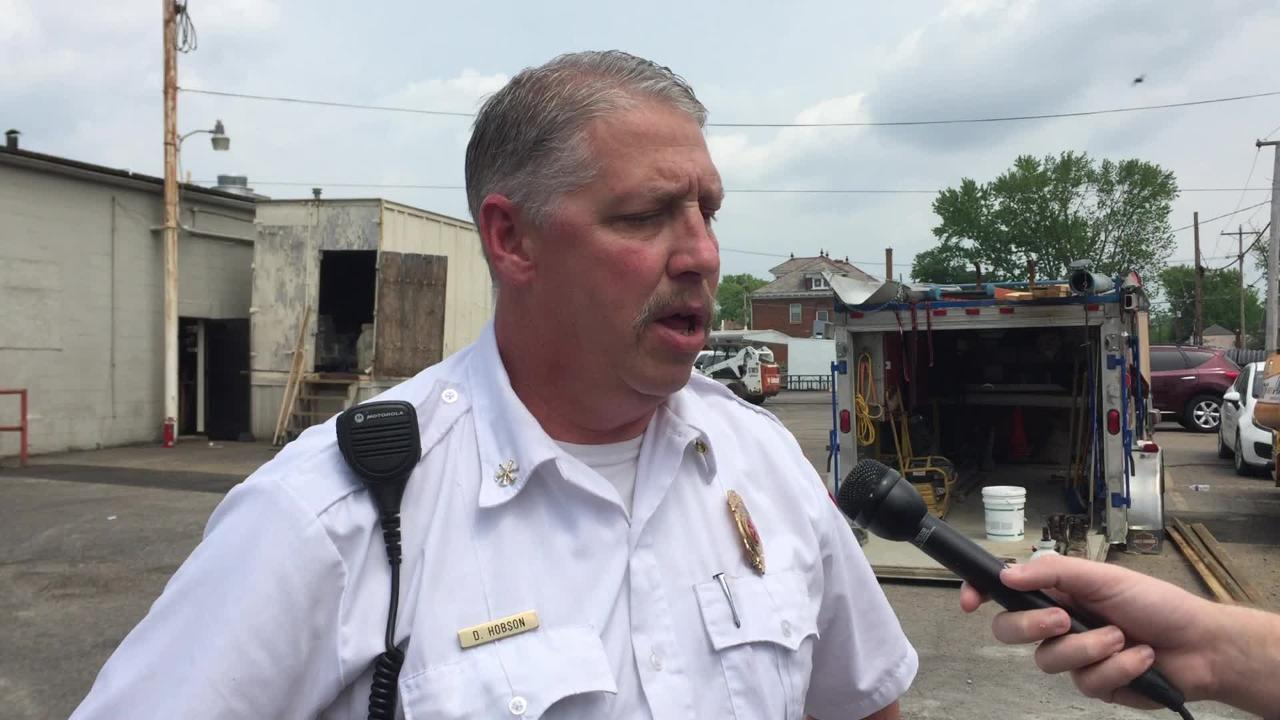 Zanesville Fire Assistance Chief Doug Hobson responds to a small exterior fire at Picnic Pizza that filled the restaurant with smoke Monday morning.