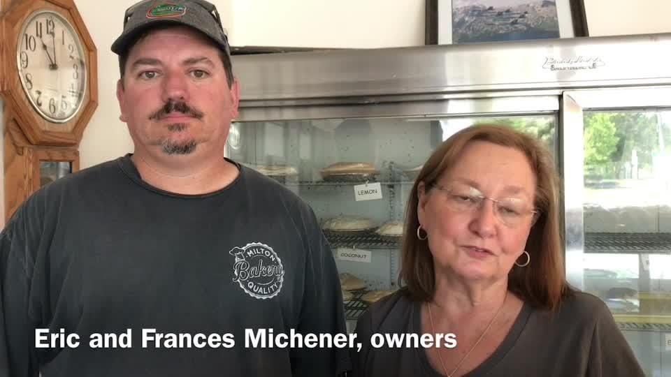 Eric and Frances Michener, owners of Milton Quality Bakery on U.S. 90 in Milton, react to the business being in running for America's sweetest bakery