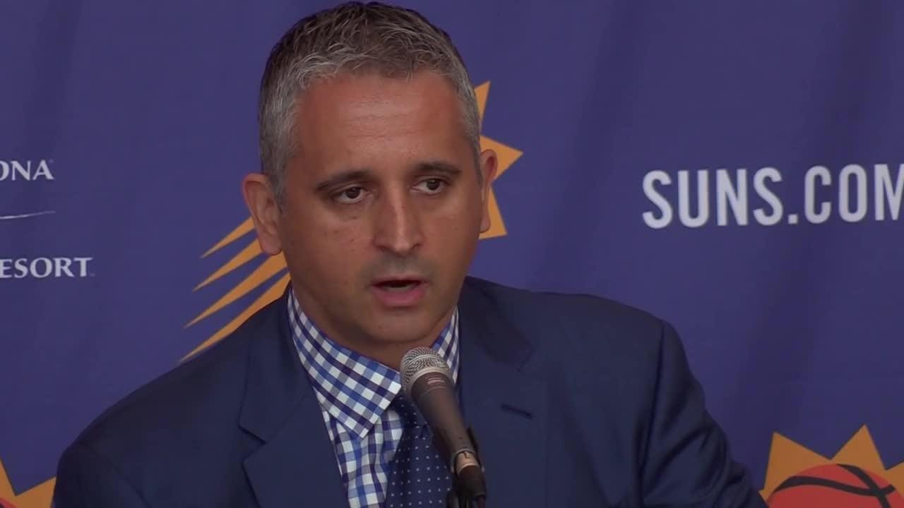 Phoenix Suns head coach Igor Kokoskov discusses Devin Booker and Dragan Bender during a press conference.