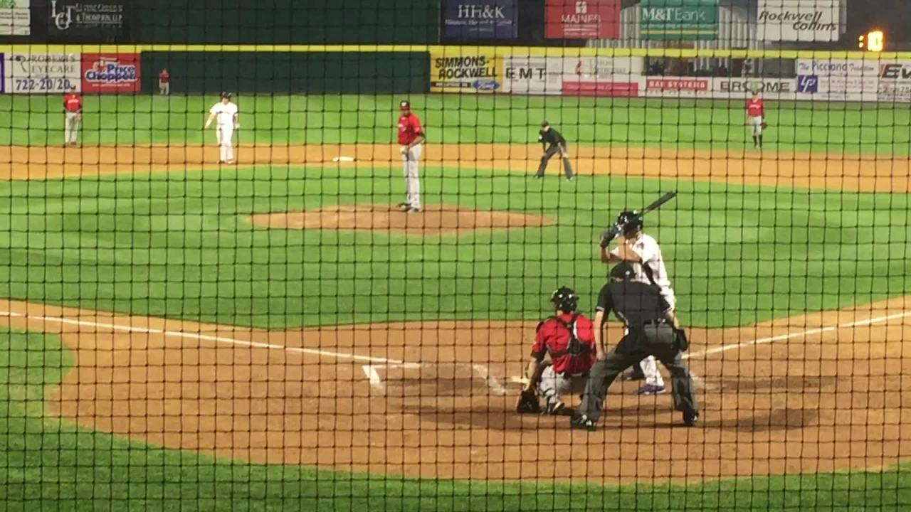 Rumble Ponies left fielder hits a three-run homer off Erie's Jeff Thompson in the sixth inning to help Binghamton to a 6-5 victory Monday at NYSEG Stadium.