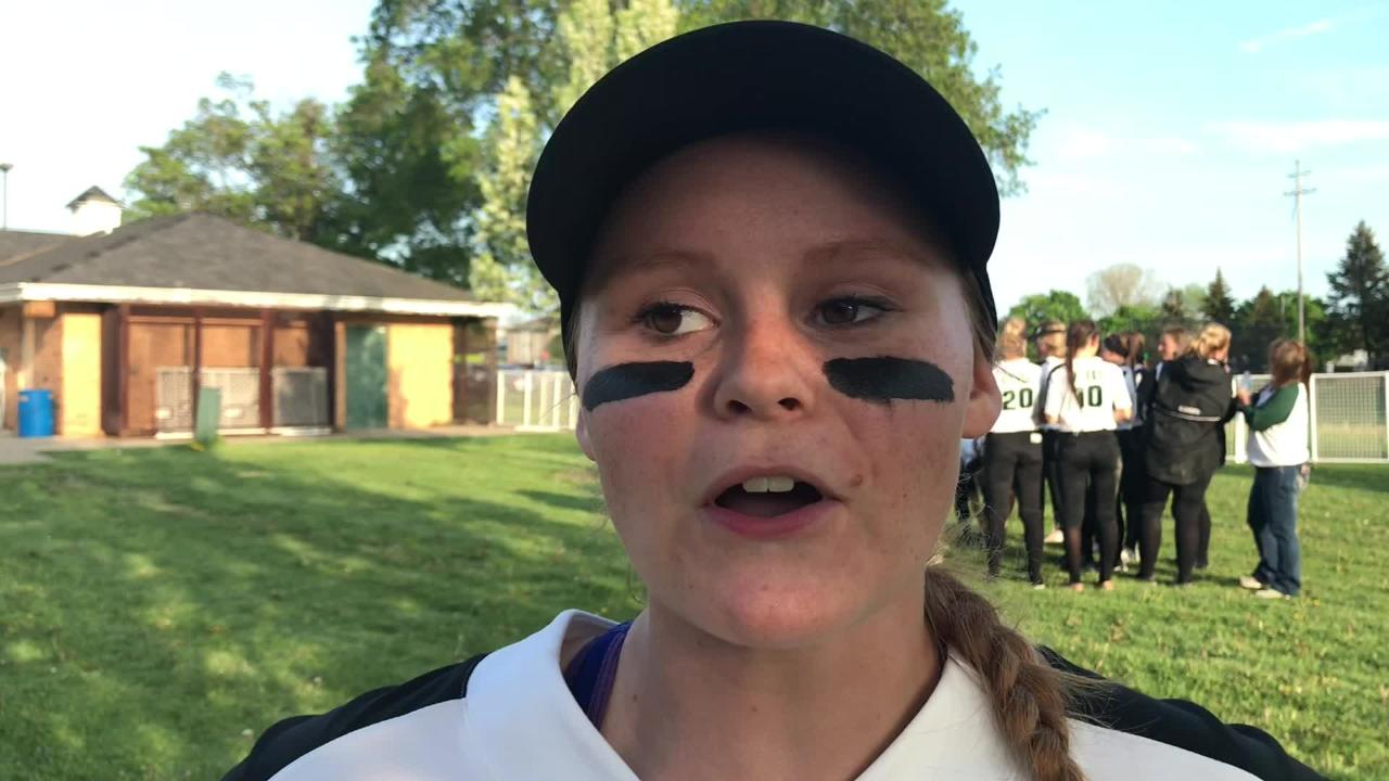 Olivet senior Molly Wheeler discusses her performance at the plate and her team following a Softball Classic win over DeWitt on Monday, May 14, 2018.