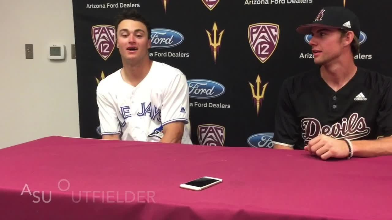 Coach Tracy Smith, OF Hunter Bishop on home run-robbing catch in ASU baseball win over Pacific