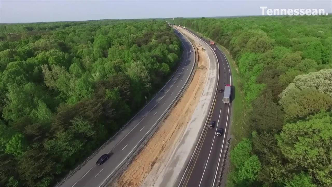 Interstate 40 eastbound in Dickson County is being expanded for a truck climbing ramp on a steep incline.