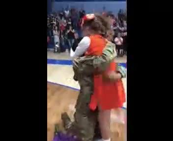 US Army Staff Sgt. Janae Ratledge arrives home a few days early from a nine-month deployment to surprise her daughter, Jazmyn Ratledge, 10, during the Razzle Dazzle Cheer Competition held Friday, May 11, 2018, at Las Cruces High School.
