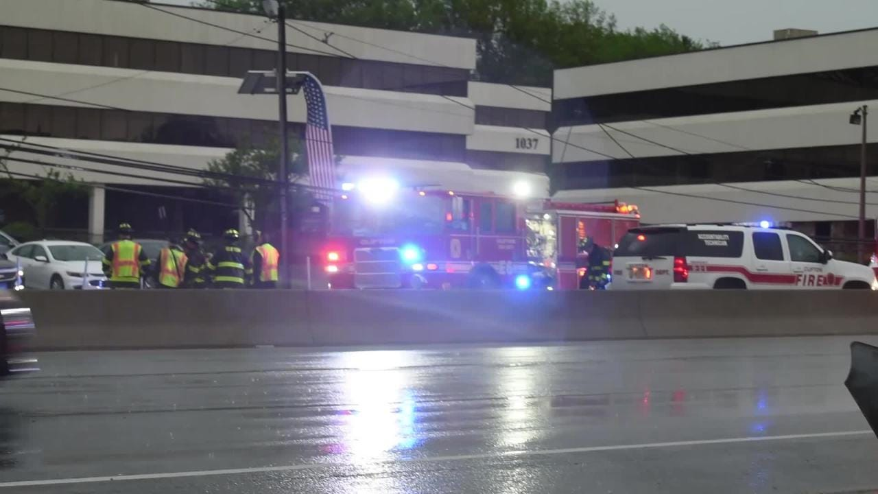 Route 46 East  pole and wires down across the highway in Clifton