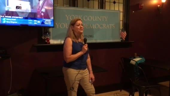 Judith Higgins gave an acceptance speech after winning the 28th state Senate Democratic nomination Tuesday.