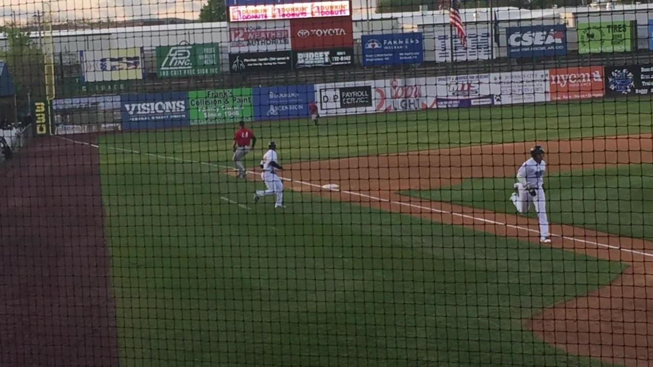 Tim Tebow hits an RBI single for the Binghamton Rumble Ponies in the fourth inning of Tuesday's game against the Erie SeaWolves at NYSEG Stadium. Binghamton won, 6-5.