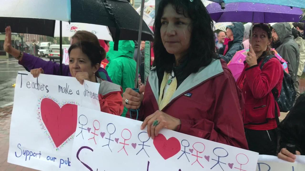 More than 150 people, most of whom teachers, participated in Asheville's satellite March for Students and Rally for Respect. The main rally took place in Raleigh.