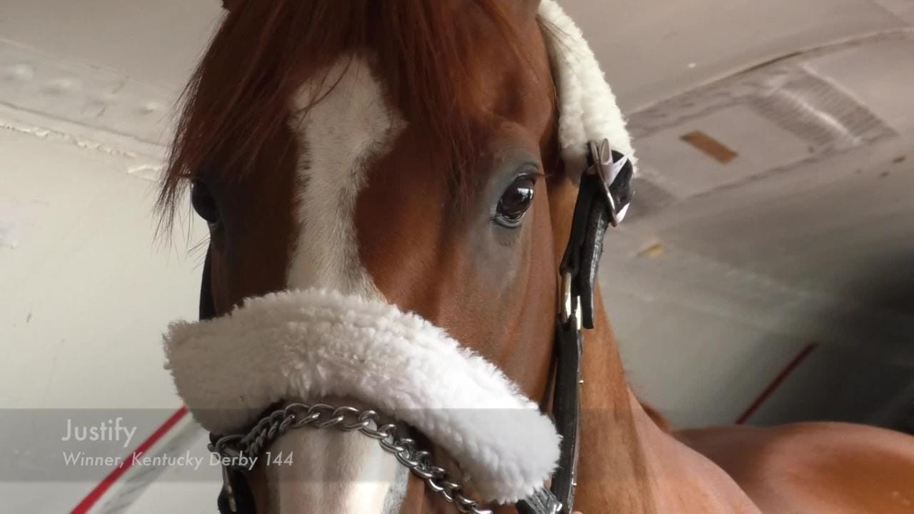 Kentucky Derby winner Justify left Louisville on Wednesday, ahead of Saturday's Preakness Stakes at Pimlico Race Course. May 16, 2018