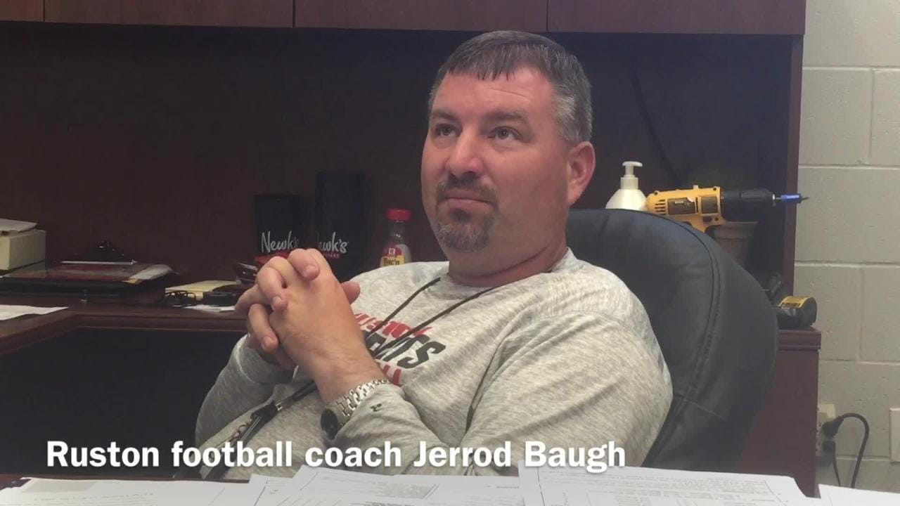 Ruston head football coach Jerrod Baugh discusses his team's offensive strategy this spring.