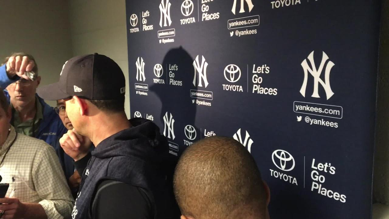 Yankees manager Aaron Boone talks after the Nationals series was postponed on Wednesday, May 16 at Washington.