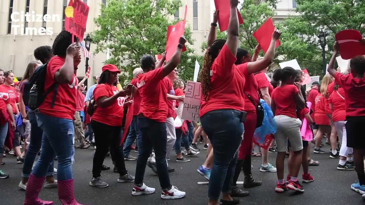 Teachers from Buncombe County and across the state marched on Raleigh in the March for Students, Rally for Respect on Wednesday, May 16, 2018.