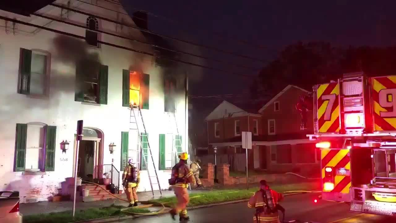 Crews fought a fire in the 500 block of Broadway in Hanover Wednesday.