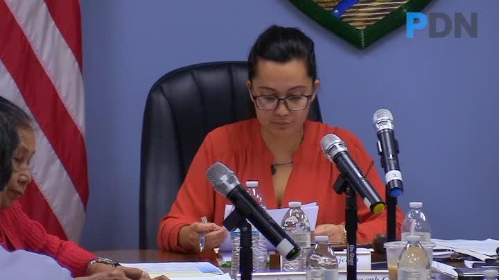 Chamorro Land Trust Commission Chairwoman Pika Fejeran presents options to commission members regarding land applications in Barrigada Heights.