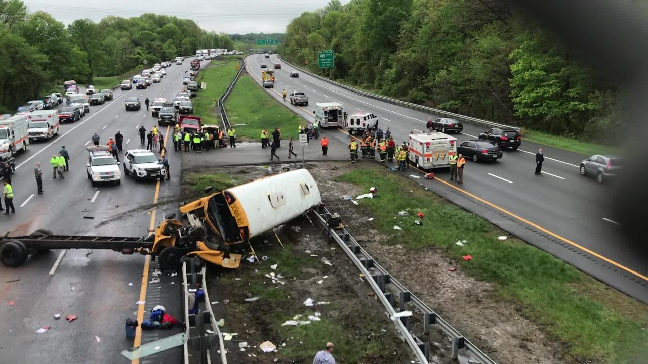 The scene of an accident involving a school bus on Route 80 in Mount Olive.