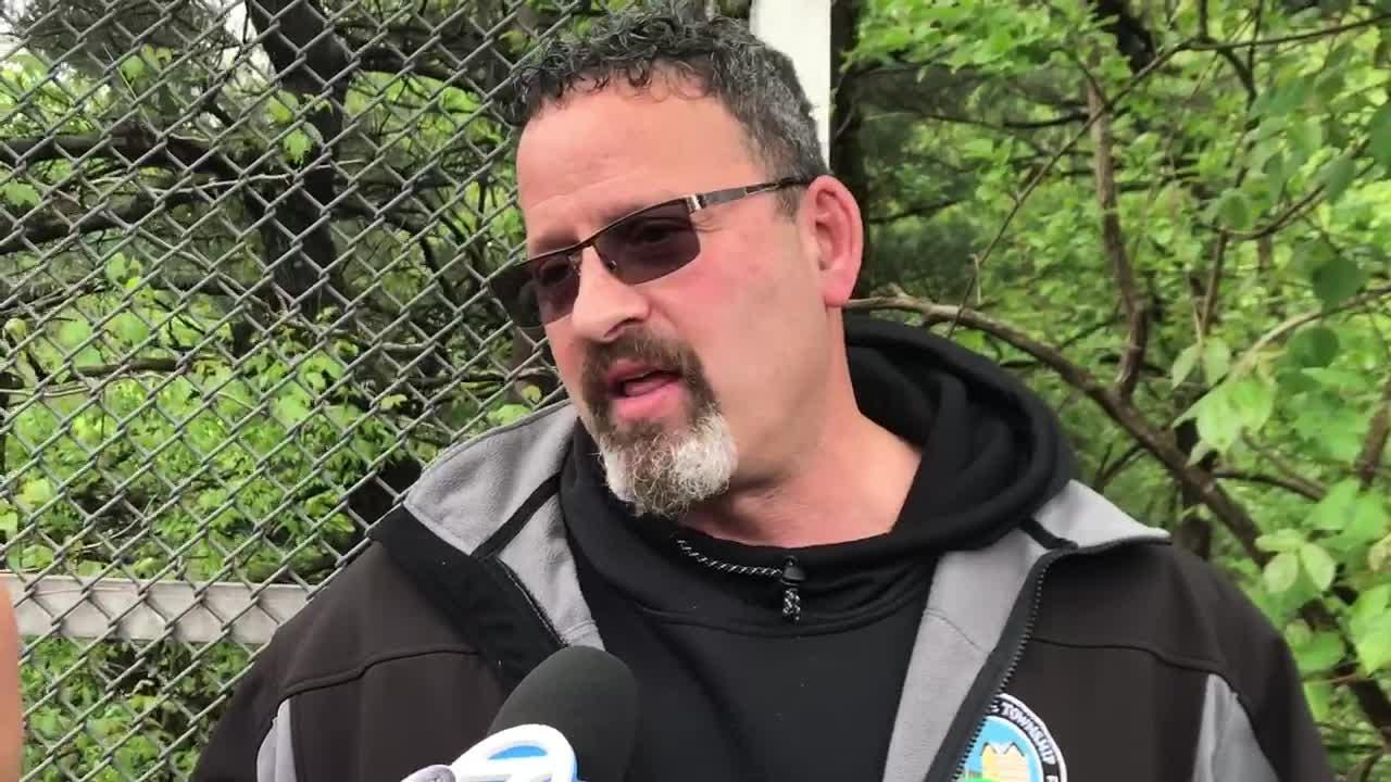 Mount Olive Mayor Rob Greenbaum discusses details of accident scene where a Paramus school bus crashed on Route 80 in Mount Olive.