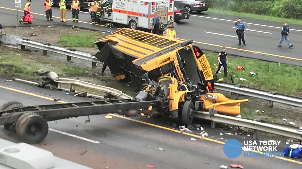 Reporter Kaitlyn Kanzler with the latest on the Paramus school bus that crashed on Route 80 in Mount Olive on Thursday, May 17, 2018.