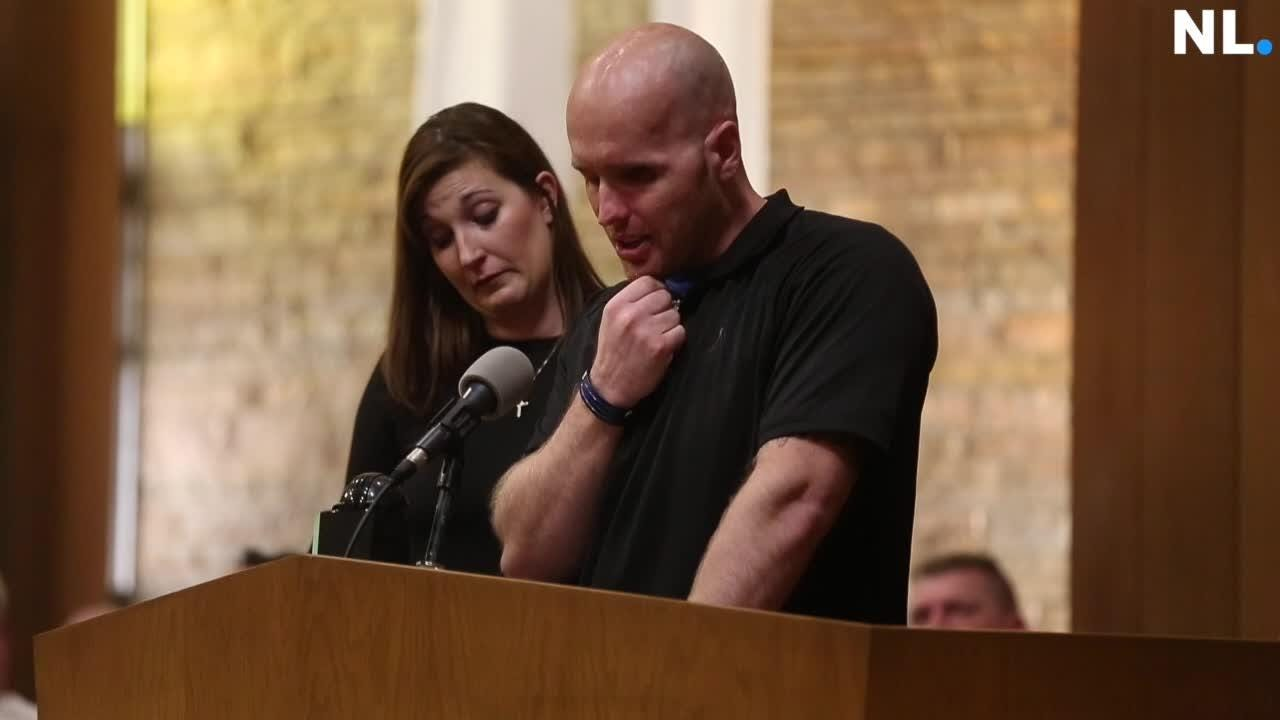 Officer Pearson and his wife Amanda speak during remembrance for fallen officers.
