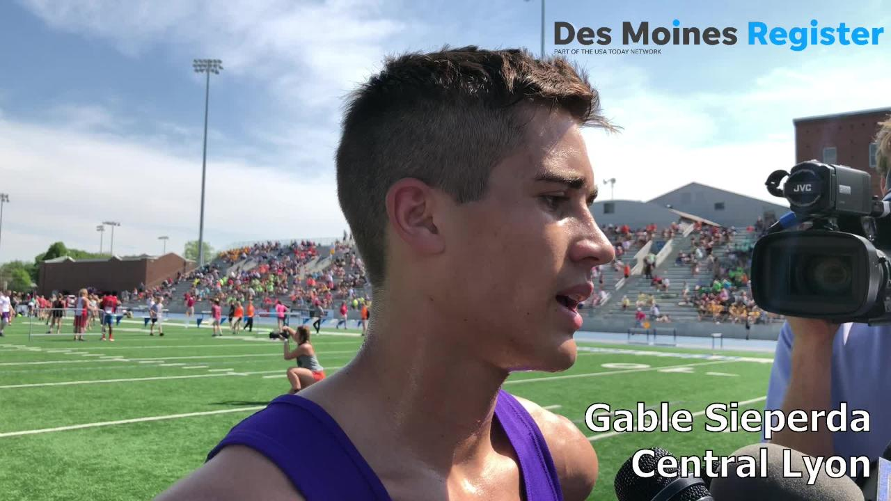 Central Lyon's Gable Sieperda set another state meet record in the Class 1A 3200-meter run on Thursday morning.