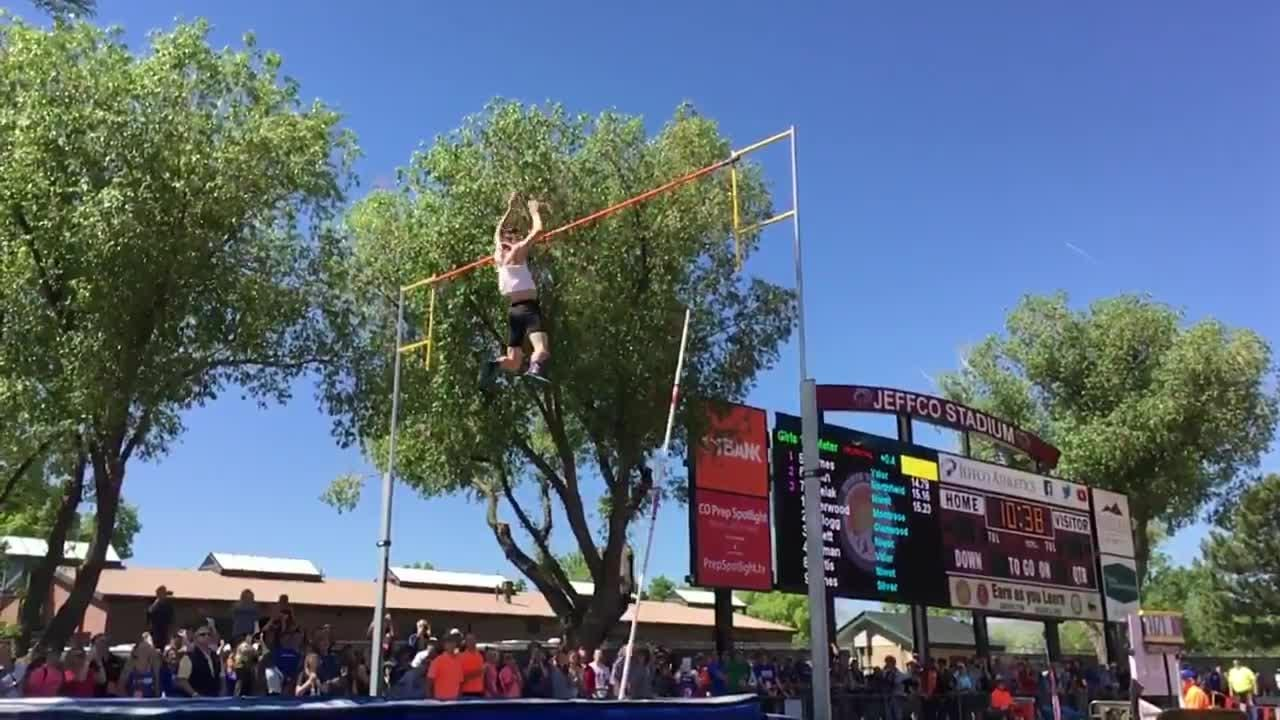 Monarch's Max Manson clears 17 feet on the pole vault at the state track meet on Thursday