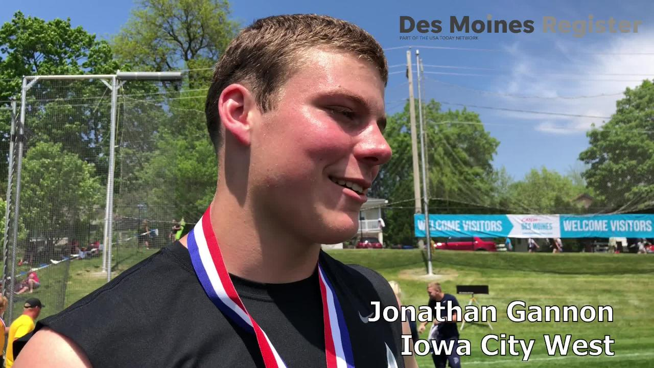 Iowa City West senior Jonathan Gannon ends his prep track career with a state title in the Class 4A discus competition.