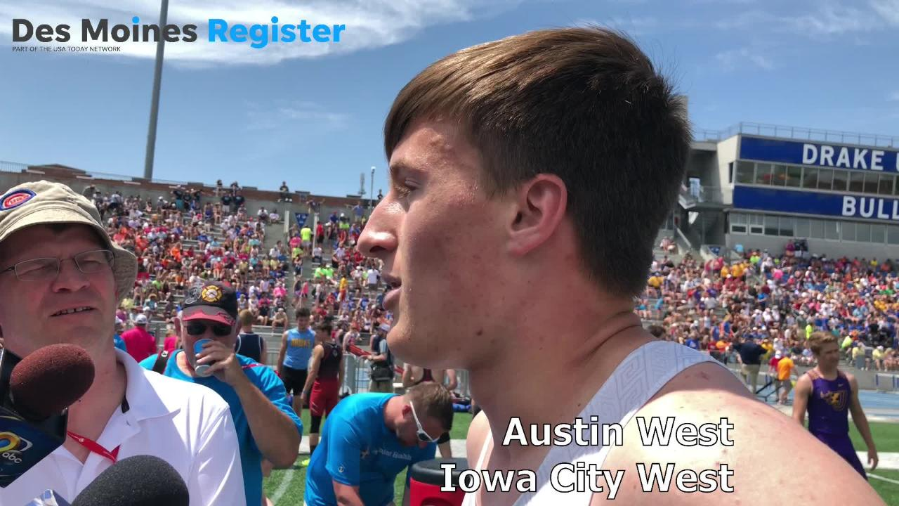 Austin West, an Iowa City West senior, ran down Bettendorf star Darien Porter to win the Class 4A state title in the 400-meter dash on Thursday.