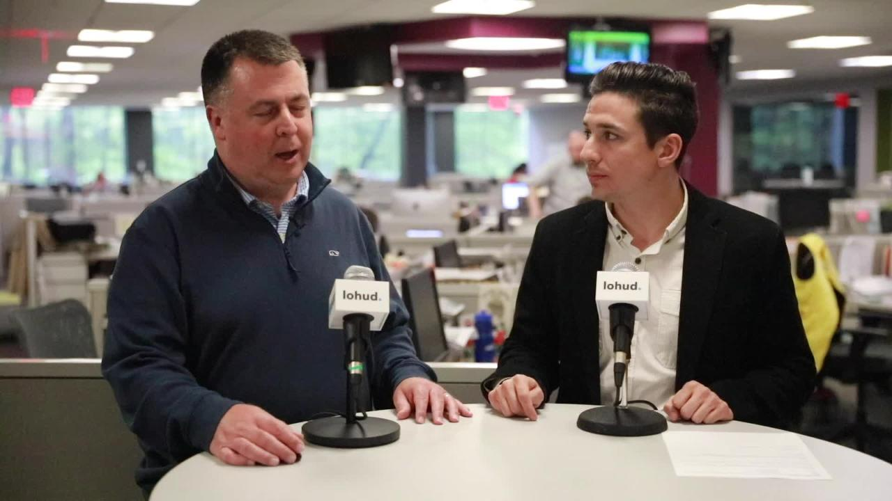 Mike Dougherty and Vince Mercogliano discuss the boys lacrosse seeds on May 17, 2018.