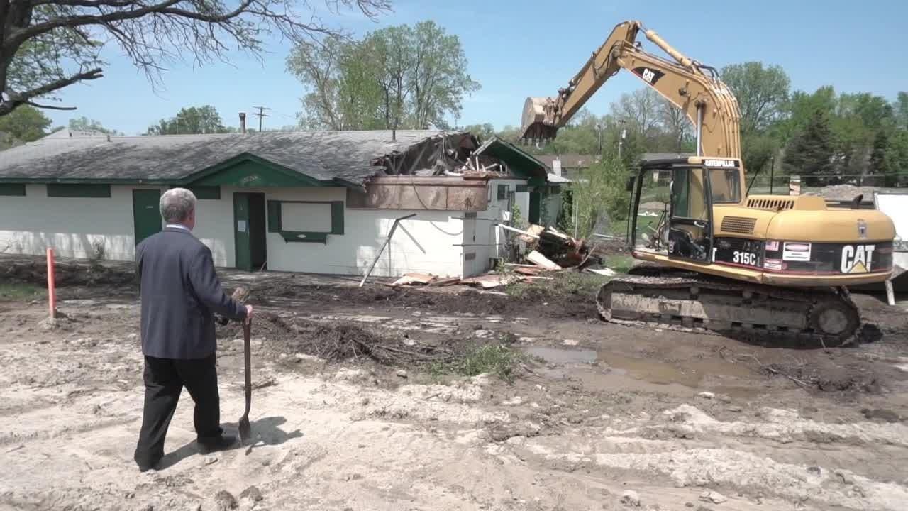 The long-closed neighborhood swim club is torn down Three duplex homes will rise on the site.