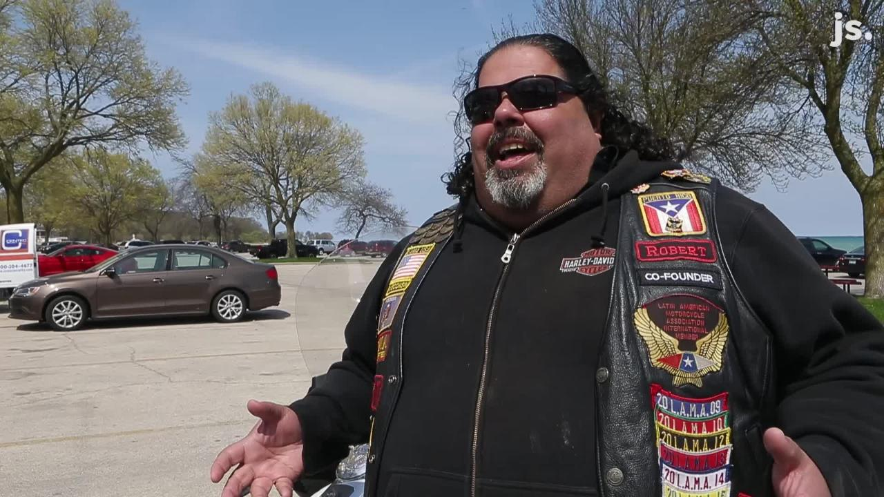 Robert Miranda's motorcycle, named Loki, roars when he revs the engine while cruising through downtown Milwaukee.