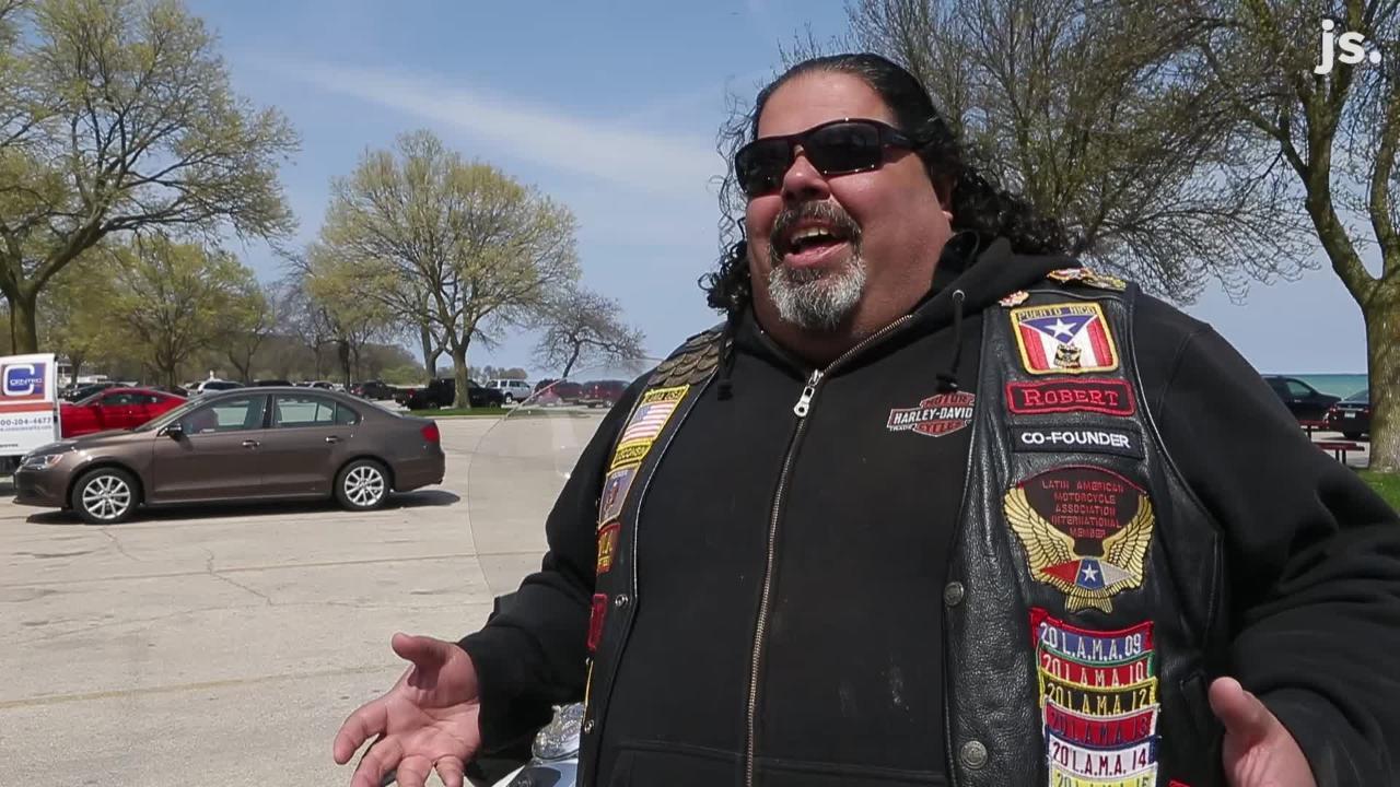 Robert Miranda's motorcycle, named Loki, roars when he revs the engine while cruising through downtown Milwaukee.