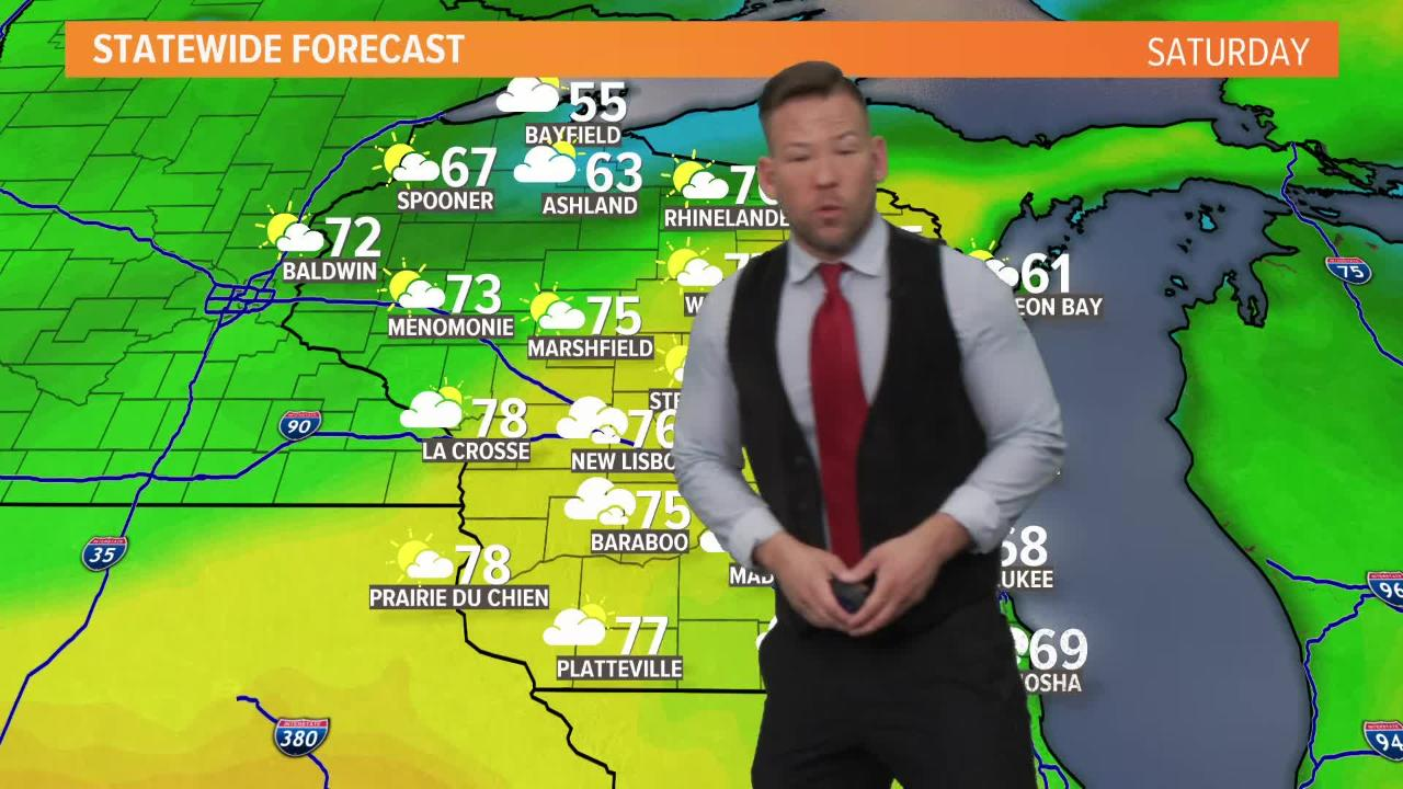 Wisconsin weather forecast for Friday, May 18