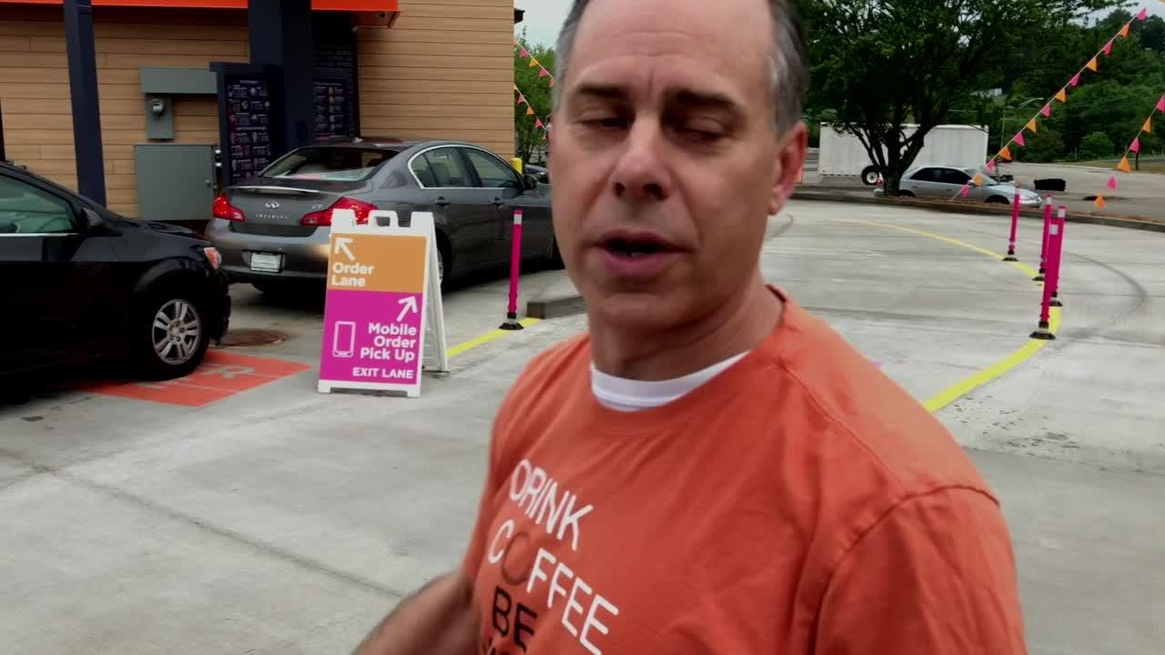 "Don Wheeler explains new ""express lane"" at Dunkin Donuts"