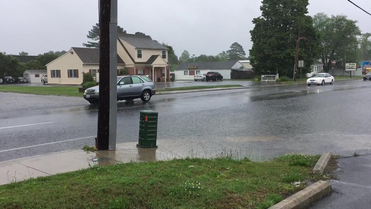 Heavy rain left high water on Mount Vernon Road near Elm Street