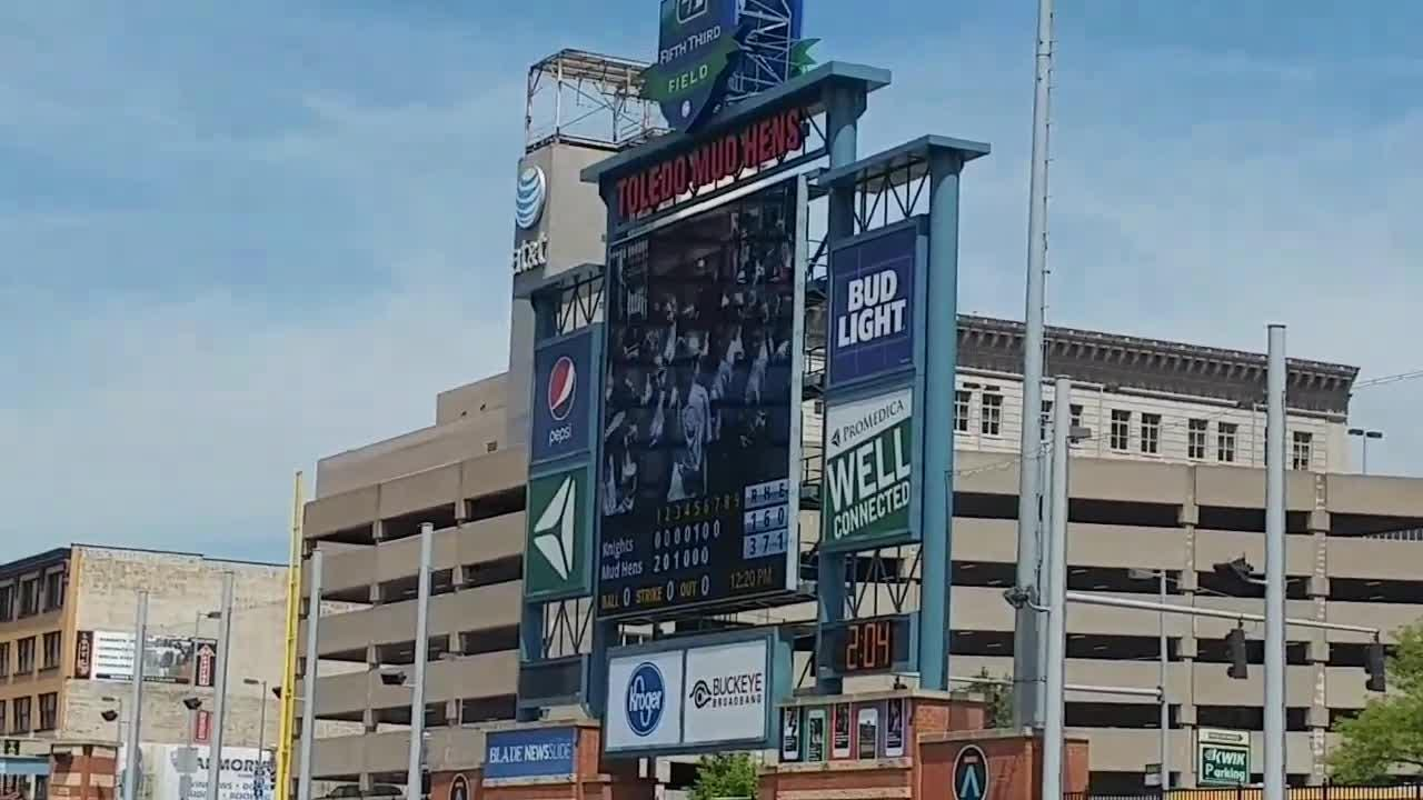 6th grade band/orchestra students from Farmington Hills didn't play at the Toledo Mud Hens game on May 17, but sung 'Take Me Out To the Ball Game.'
