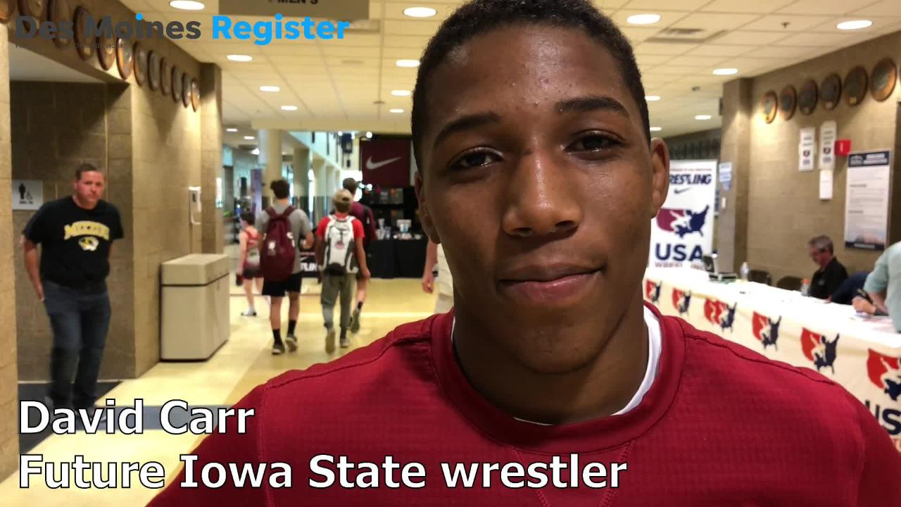 David Carr, a future Iowa State wrestler, was encouraged by his performance at the Junior world team trials on Friday in Rochester.