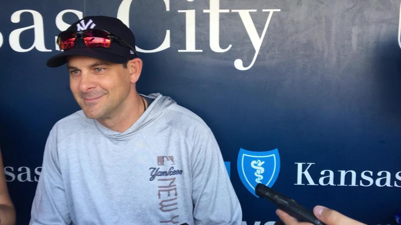 Yankees manager Aaron Boone talks the team's unexpected overnight stay at Dulles Airport before the game on Friday, May 18.