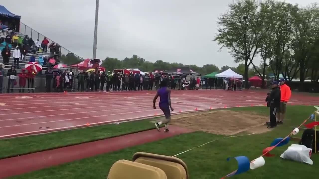 Fort Collins High School's Allam Bushara won the 5A triple jump on his final attempt.